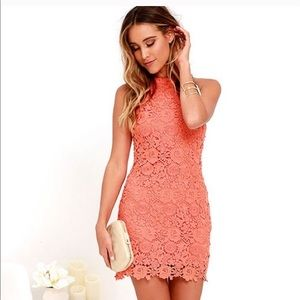 Lulu's Love Poem Coral Crochet Lace Halter Dress